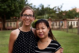 Rapha House's operations are led by Cambodia director Hannah Burkle and education director Sour Channy. The girls in their care attend school, language classes, and job training in fields like sewing, hairstyling, and cooking.