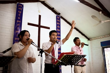 "At Grace Brethren, they sing a combination of Khmer versions of English praise songs (including ""Blessed Be the Name of the Lord""), contemporary Khmer worship music, and traditional Khmer hymns."