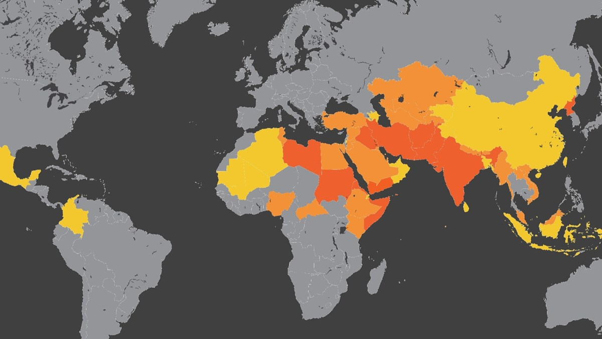 The Top 50 Countries Where It's Most Dangerous to Follow J