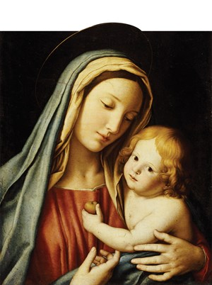 THE MADONNA AND CHILD oil on canvas Giovanni Battista Salvi Sassoferrato, Italy 17th Century