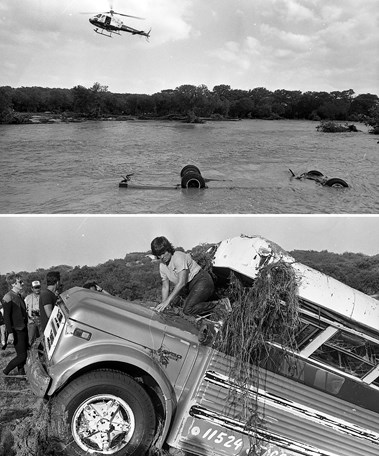 A bus recovered from the Guadalupe River after the flood.