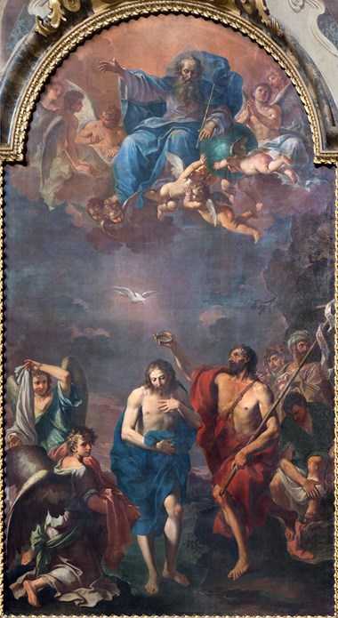 The Baptism of Christ by Ercole Graziani from 17th Century in Dom—Saint Peters baroque church.