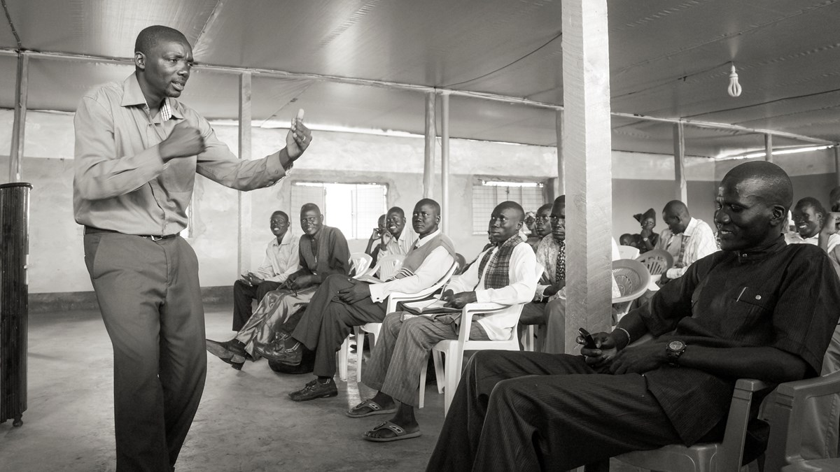 Gatera teaches pastors at a training conference in Kakuma.