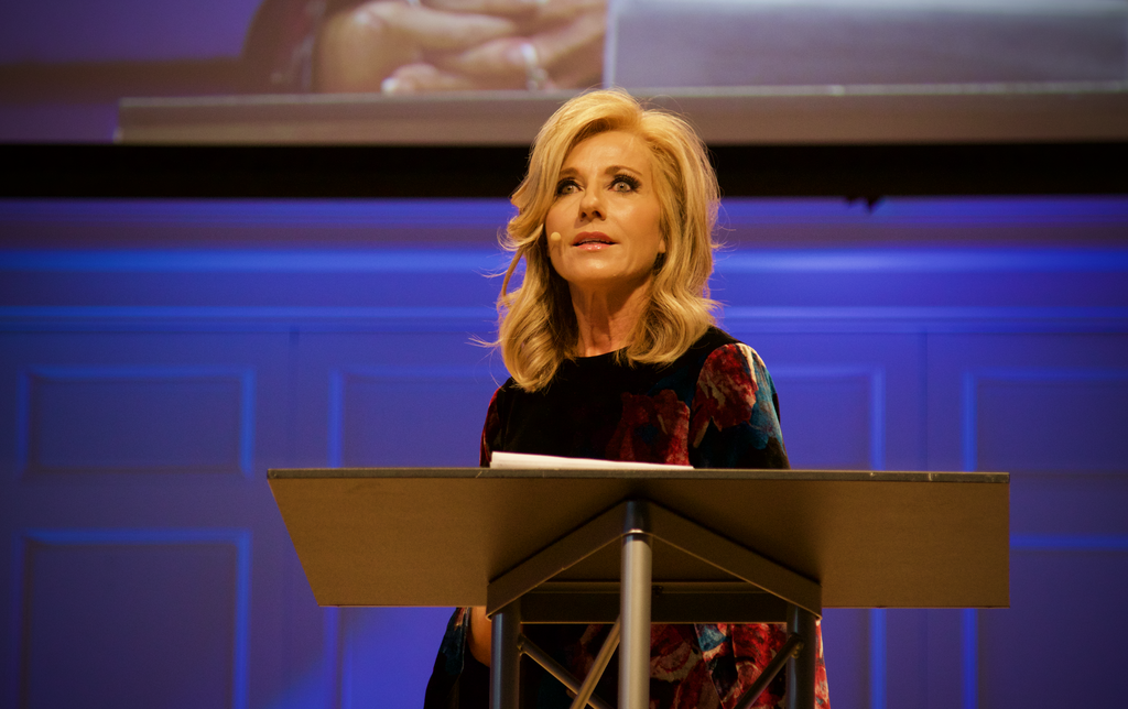 Beth Moore addresses the GC2 abuse summit at Wheaton College.