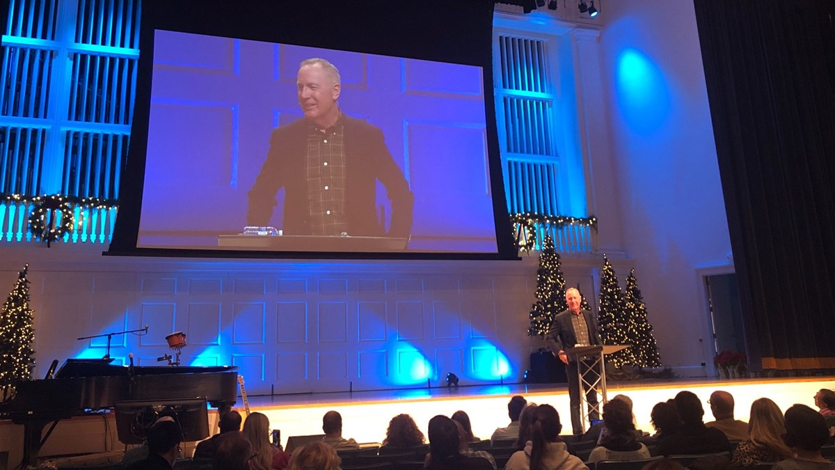 Max Lucado speaks at Wheaton College.