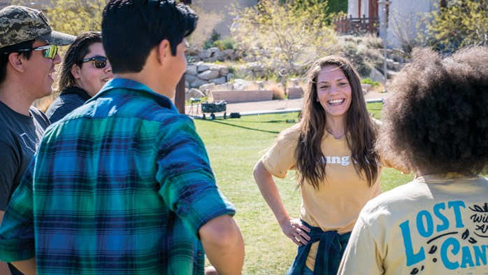 In her role with Young Life, Bridget Chacón connects with students on the campus of University of Texas at El Paso.