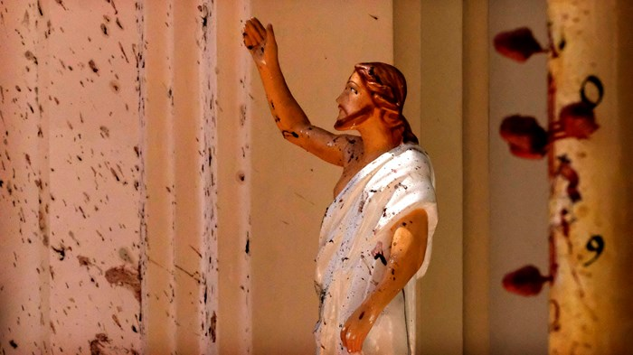 Blood splattered the walls after a suicide bomber attacked St. Sebastian's Church in Negombo, Sri Lanka, on Easter Sunday.