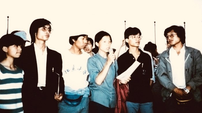 Zhang Boli protesting in 1989
