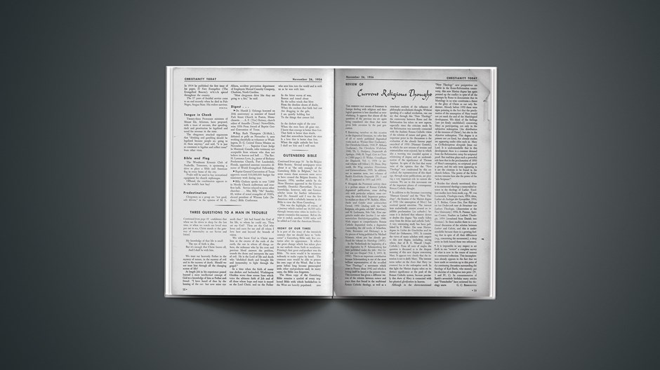 Review of Current Religious Thought: November 26, 1956