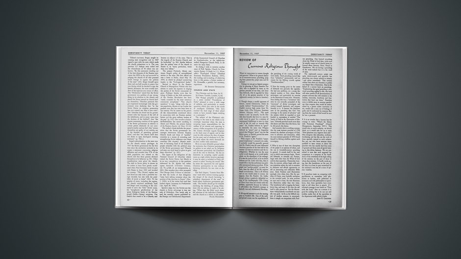 Review of Current Religious Thought: November 11, 1957