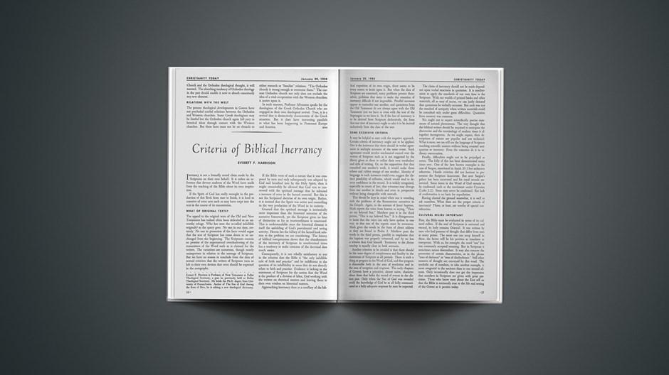 Criteria of Biblical Inerrancy