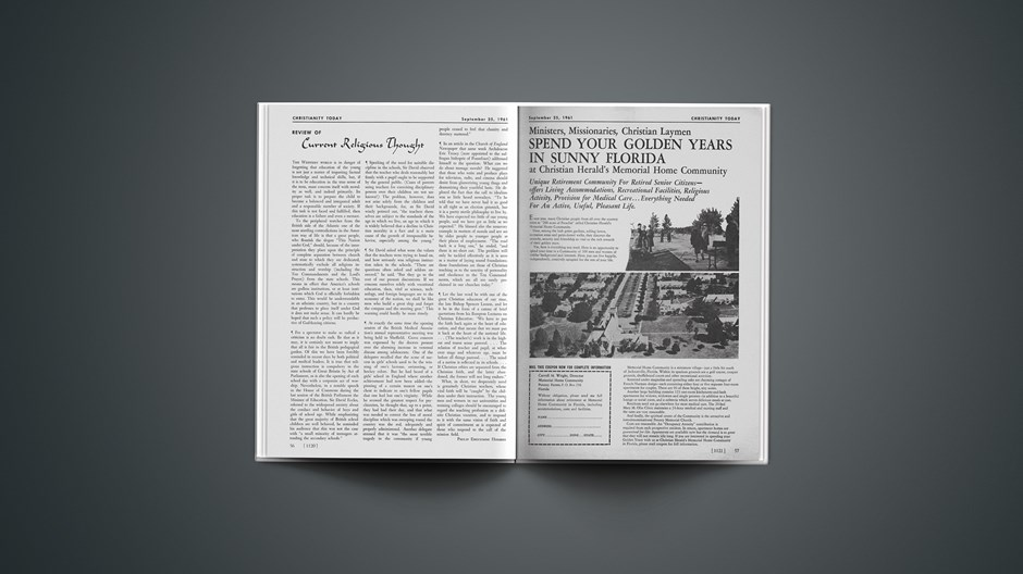 Review of Current Religious Thought: September 25, 1961