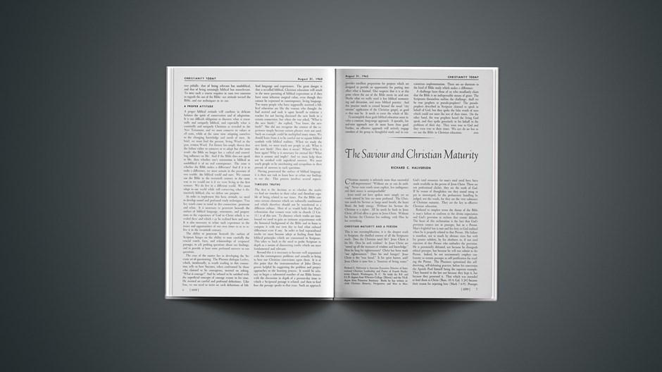 The Saviour and Christian Maturity