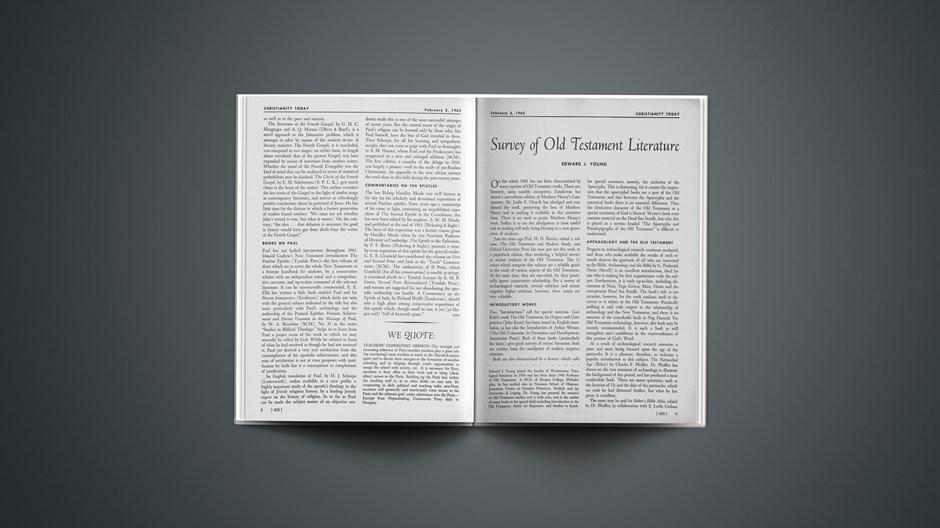 New Testament Studies in 1961