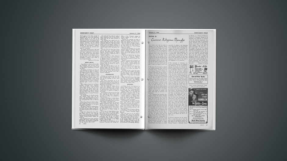 Review of Current Religious Thought: January 05, 1962