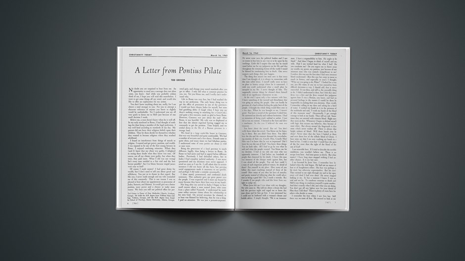 A Letter from Pontius Pilate