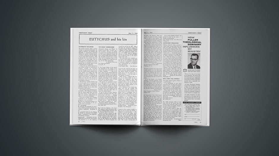 Eutychus and His Kin: May 11, 1962
