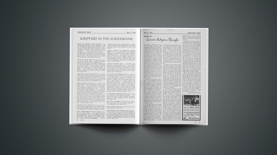 Review of Current Religious Thought: May 11, 1962