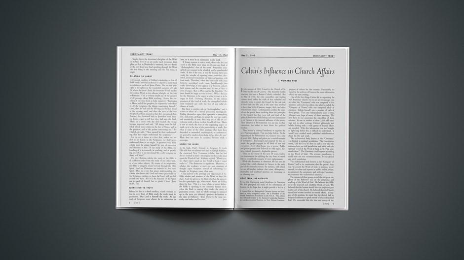 Calvin's Influence in Church Affairs