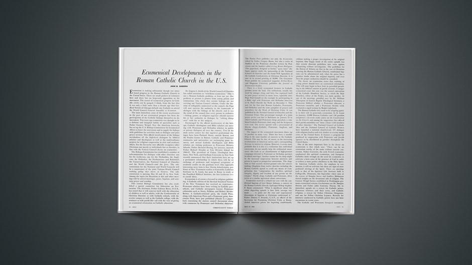 Ecumenical Developments in the Roman Catholic Church in the U.S.