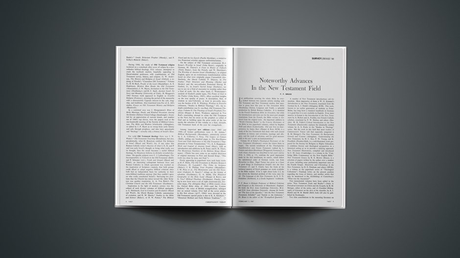 Noteworthy Advances in the New Testament Field