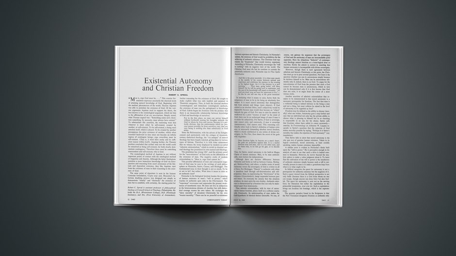 Existential Autonomy and Christian Freedom