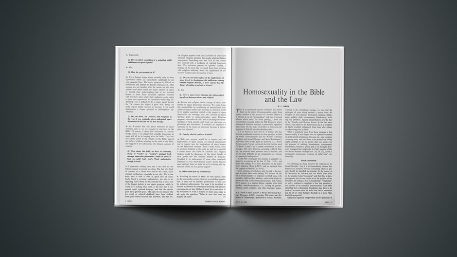 Homosexuality in the Bible and the Law
