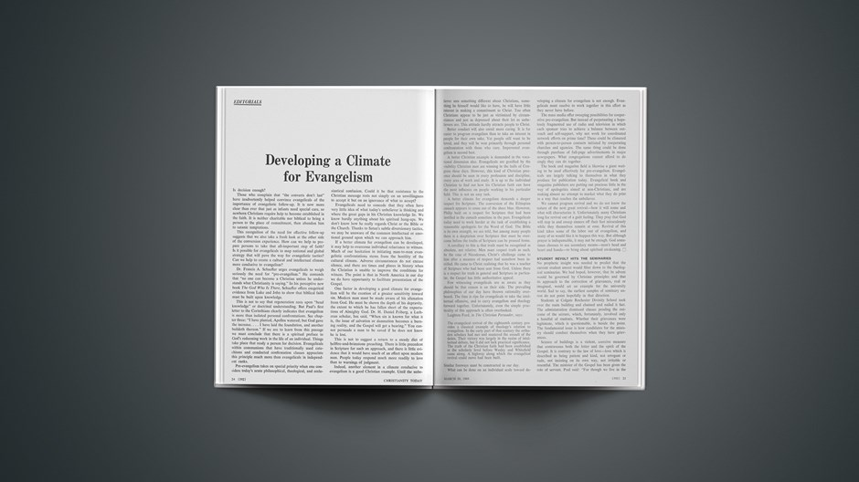 Developing a Climate for Evangelism