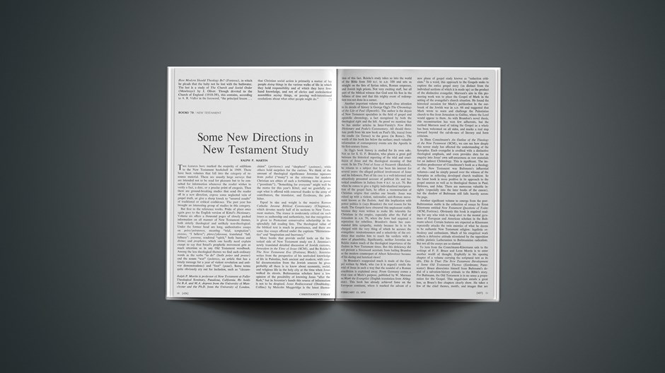 Some New Directions in New Testament Study