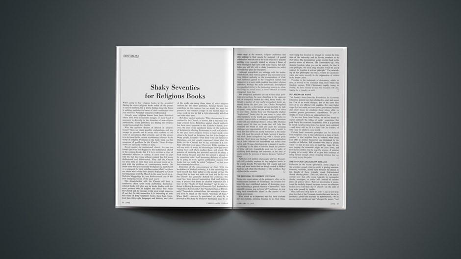 Shaky Seventies for Religious Books