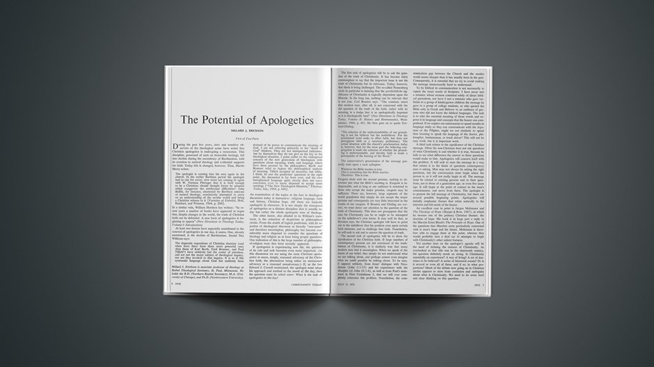 The Potential of Apologetics: First of Two Parts