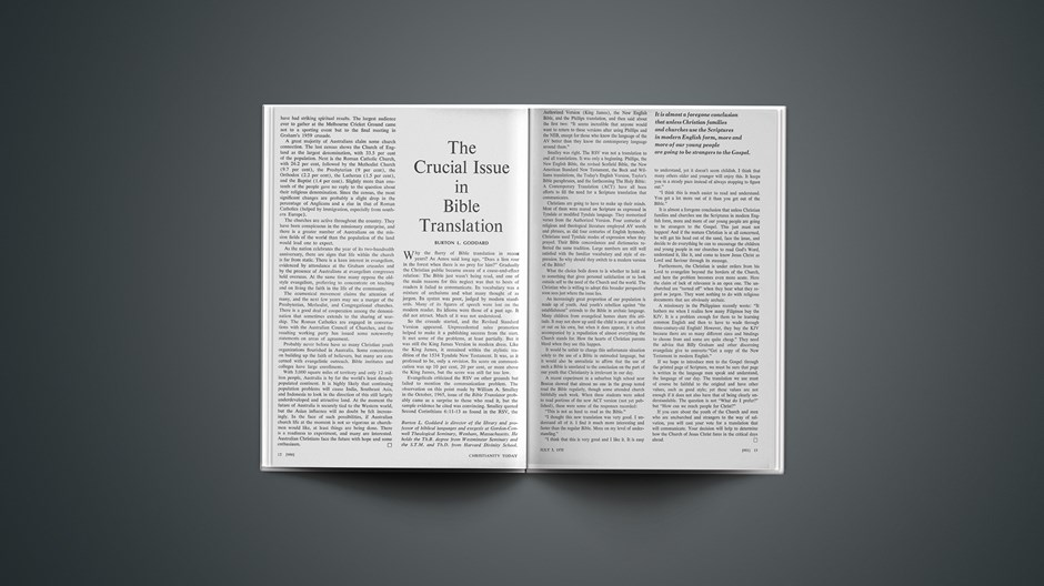 The Crucial Issue in Bible Translation