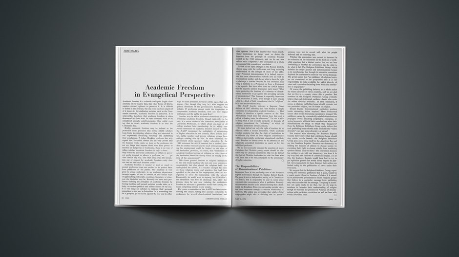 Academic Freedom in Evangelical Perspective