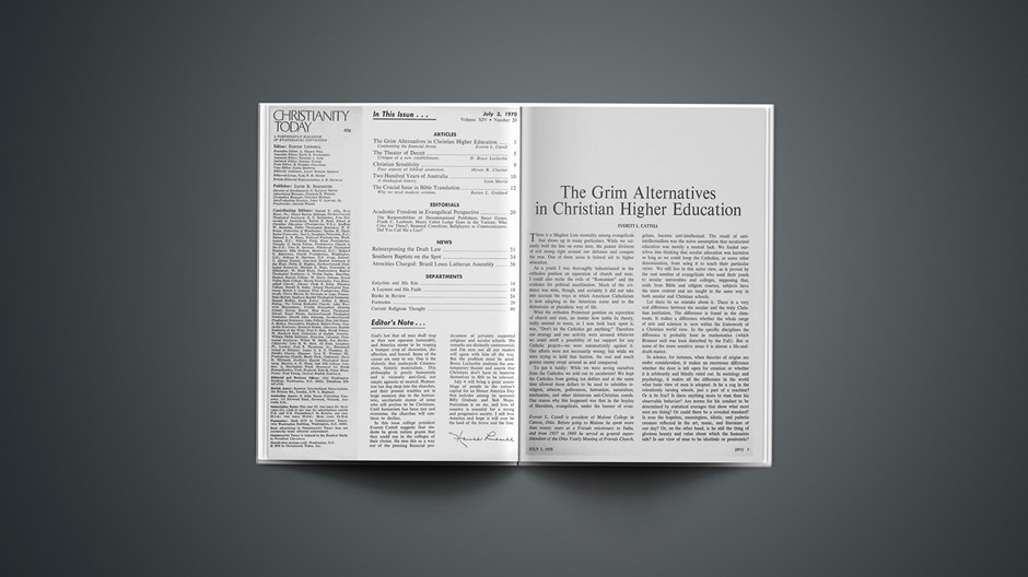 The Grim Alternatives in Christian Higher Education