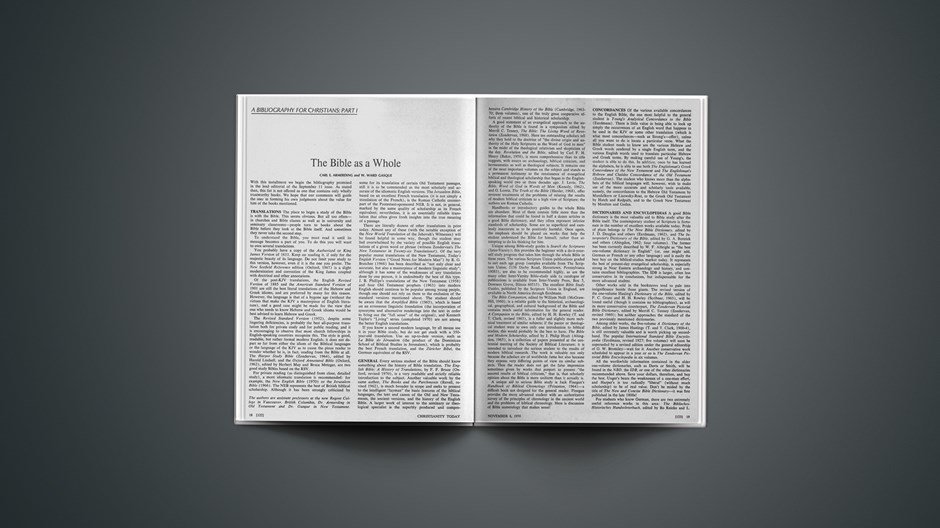 Part I: The Bible as a Whole
