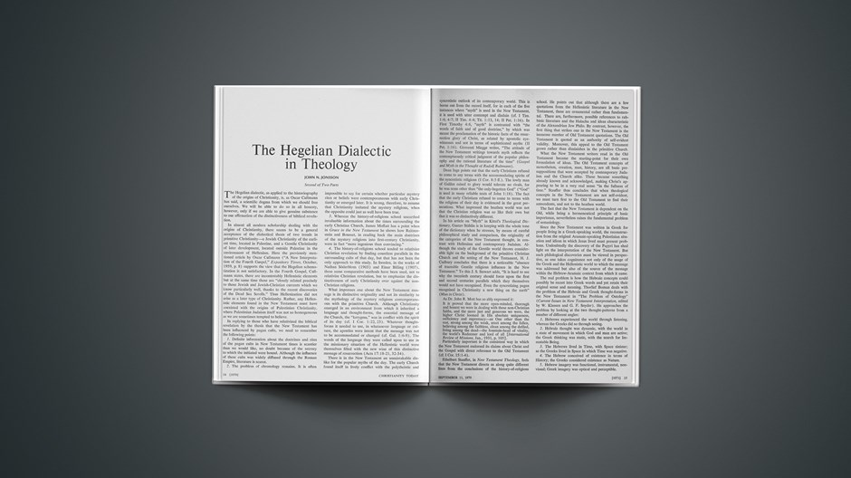 The Hegelian Dialectic in Theology: Second of Two Parts