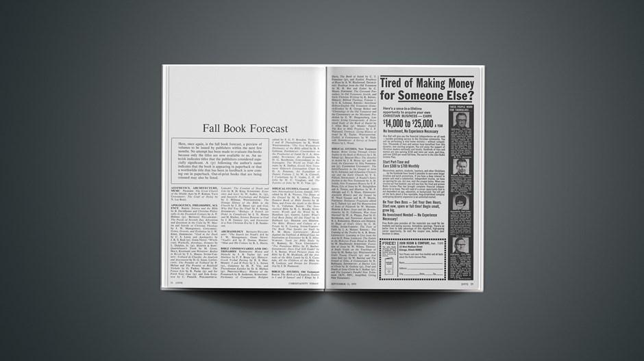 Fall Book Forecast 1970