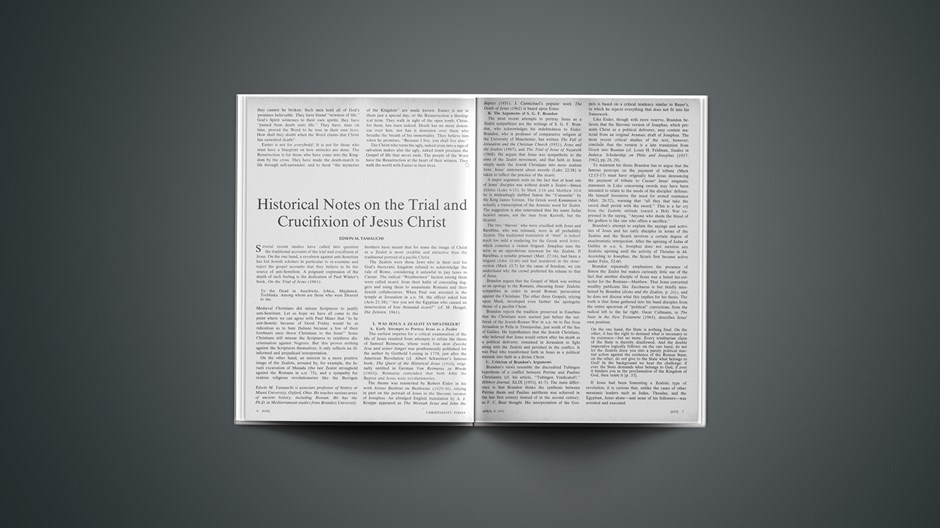 Historical Notes on the Trial and Crucifixion of Jesus Christ