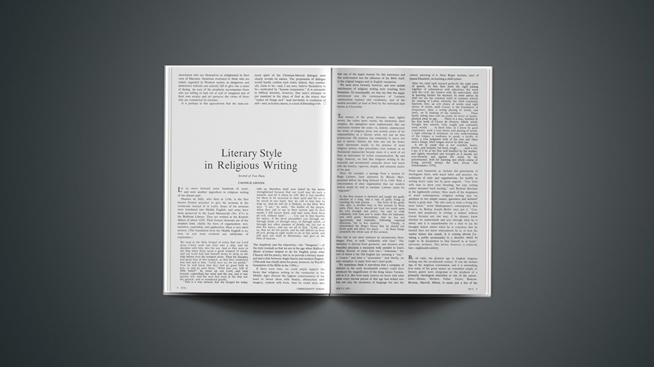 Literary Style in Religious Writing: Second of Two Parts