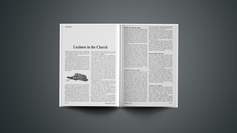 Laziness in the Church